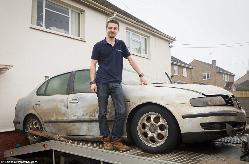 Hubert Zajaczkowski had to abandon his Seat Toledo on Christmas Eve as water levels rose - now the floods have gone down, he has been able to recover the ruined car