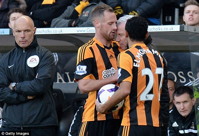 Rush of blood to the head! Pardew was banned after clashing with Hull's David Meyler at the KC Stadium