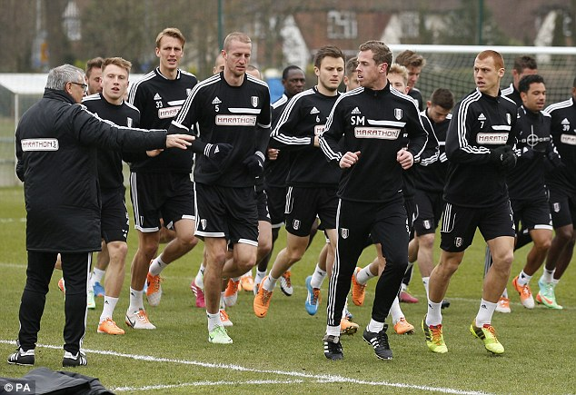 Training day: Felix Magath (L) has challenged Fulham to take advantage of Alan Pardew's enforced absence