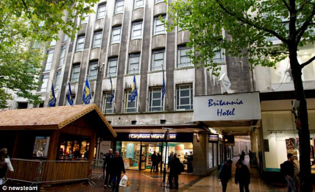 Crime scene: The Britannia Hotel in Birmingham City Centre, where Amy Sanders and the Tookey brothers stole a poppy appeal tin from the reception area