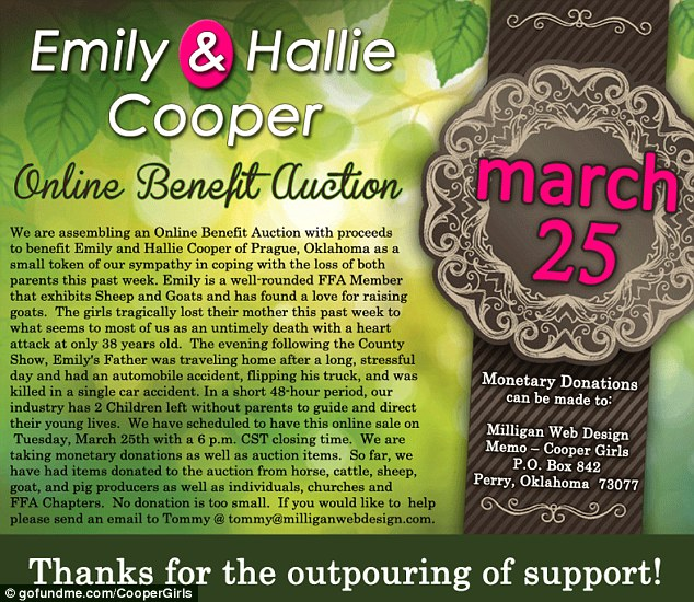 Heartwarming: Residents of Prague, Oklahoma have participated in a variety of fundraising efforts to support the orphaned Cooper girls