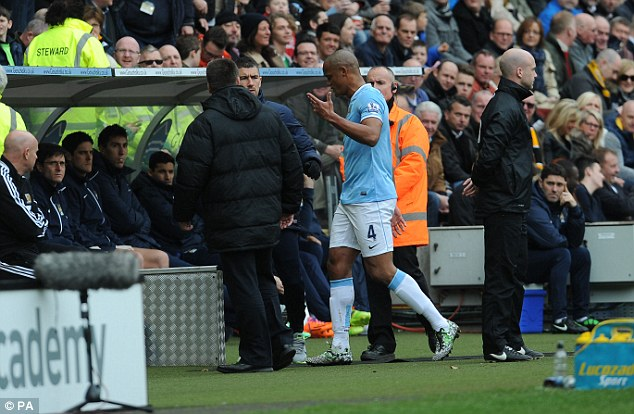 Fuming: Kompany complains to the City bench following his dismissal