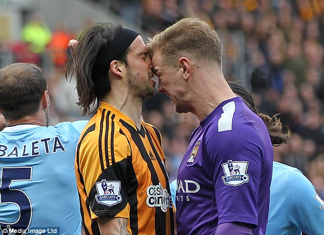 Head to head: Boyd and Hart shared a heated exchange after the Hull winger's dive in the area