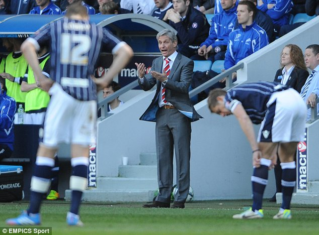making a point: Charlton manager Jose Riga on the touchline