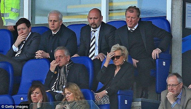 Good view: Derby manager Steve McClaren (top right) watches on from the directors box