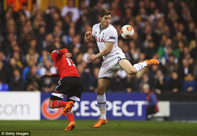 Familiar: Vertonghen returned to his first choice position of centre-back but couldn't prevent a loss to Benfica