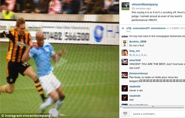 Decide yourself: Vincent Kompany posted the video on Instagram of the incident