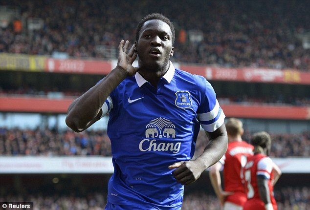 On the move: Romelu Lukaku is currently on loan at Everton, but will be put on the transfer market by Chelsea boss Jose Mourinho