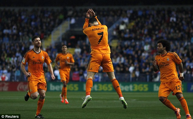 Opener: Ronaldo (centre) gave Madrid the lead in the 23rd minute