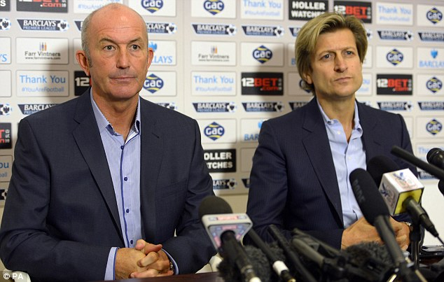 Loggerheads: Pulis and Steve Parish (right) have had disagreements this season over Palace¿s transfer policy