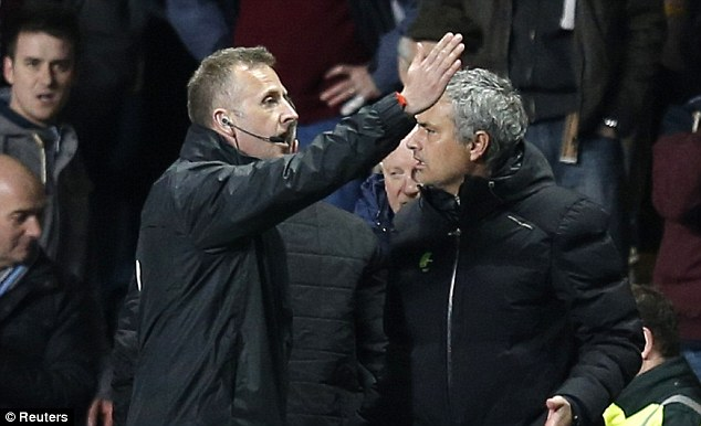 Bad to worse: Manager Jose Mourinho was sent to the stands late on for his fierce protestations