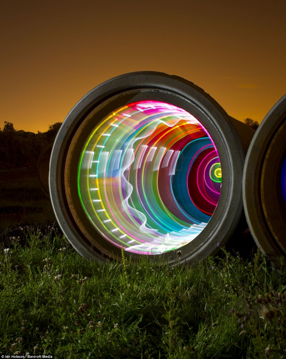 This image was made using handheld LEDs with perspex diffusers inside a concrete drainage pipe