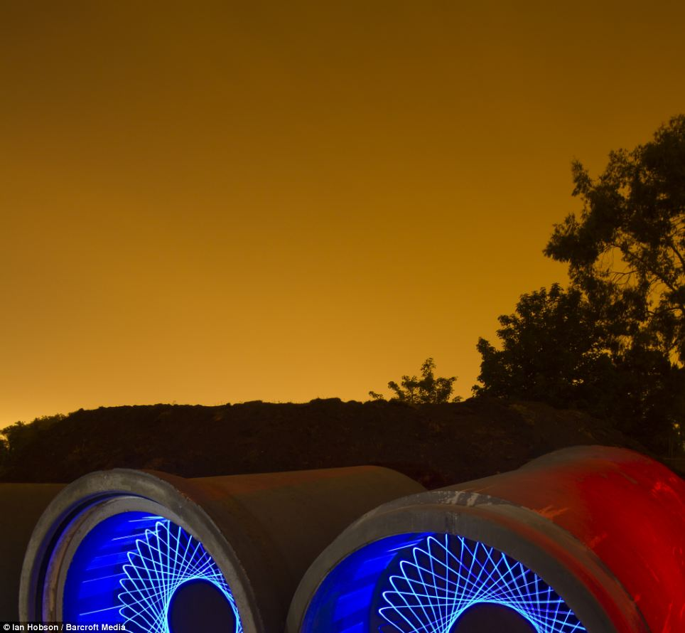 Mr Hobson took this using LEDS mounted on a bike wheel rolled inside concrete drainage