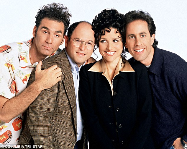 So '90s!: With his Seinfeld family that included (from left) Michael Richards, Jason Alexander and Julia Louis-Dreyfus
