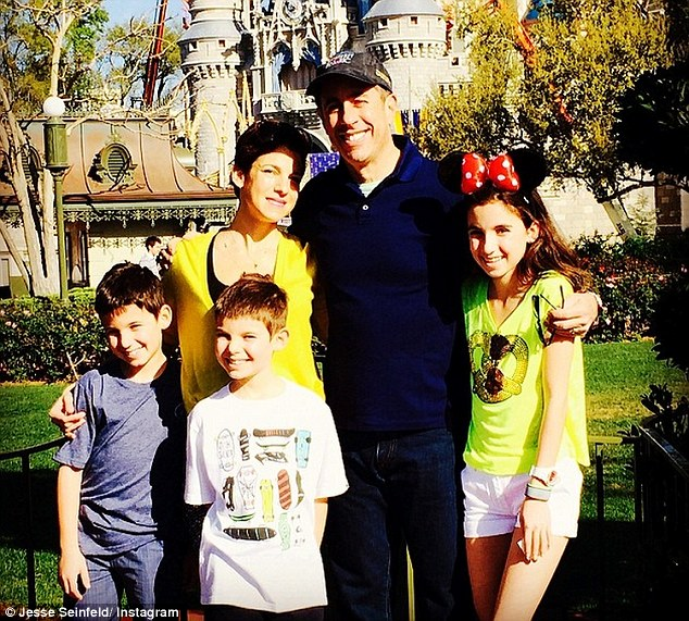 Happiest place on earth: The comedian smiled as he stood in front of Walt Disney World's magic castle