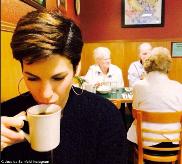 Cafe talk: On March 9 Mrs Seinfeld shared this photo while on a Java break beside a few senior citizens