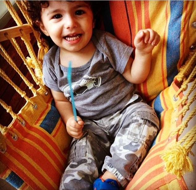 Adorable: The actor posted this picture of her son 19-month-old Johnas on Instagram on Monday