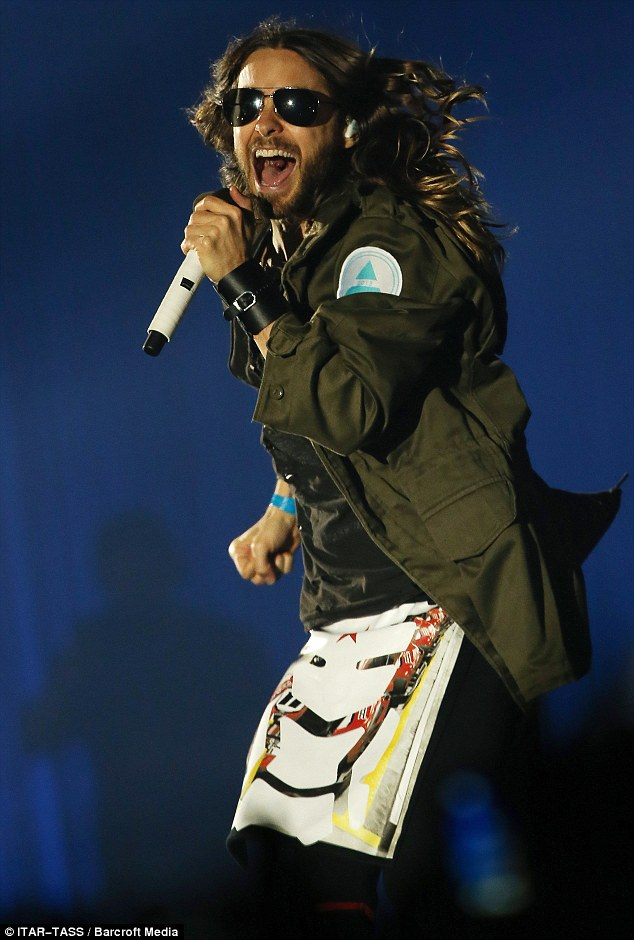 Quite a show: Jared Leto and 30 Seconds To Mars perform a storming set at Moscow's Olympic Stadium on March 16