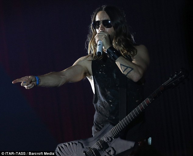 Pointing it out: Leto addresses the audience on Sunday evening