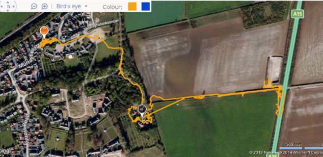 A GPS tracker shows Archie leaves his home in Quarrington, Lincolnshire and sleeps in the middle of the nearby A15