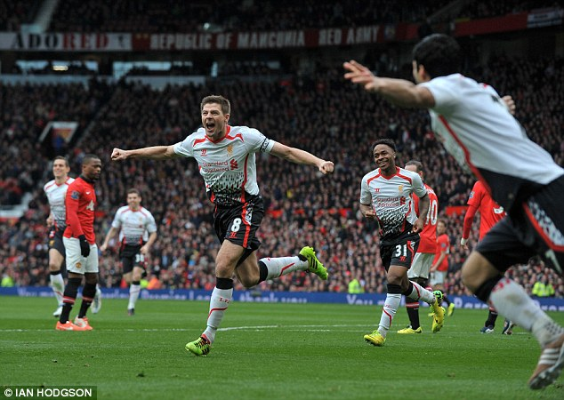 What a day: Steven Gerrard scored twice from the penalty spot in Liverpool's 3-0 victory at Old Trafford
