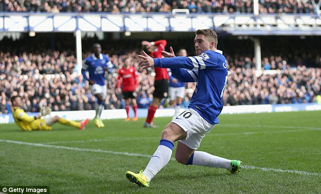 Staying put? Martinez believes Barcelona loanee Gerard Deulofeu, pictured here celebrating his goal against Cardiff, could remain at Goodison Park next season
