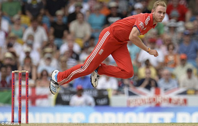 Leader: England will hope to have Broad fit and flying again in time for their first World T20 match on Saturday
