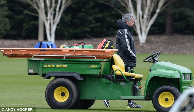 Drive: Mourinho took Chelsea training ahead of their clash against Galatasaray on Tuesday