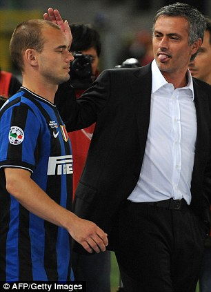 Treble: Jose Mourinho and Wesley Sneijder won everything with Inter Milan