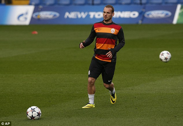 Maestro: Sneijder's eye for a pass makes him a dangerous opponent in front of the Blues' defence