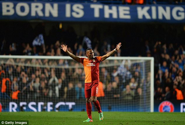 A fond farewell? Drogba was applauded vociferously by the Chelsea fans - but he will play there again?