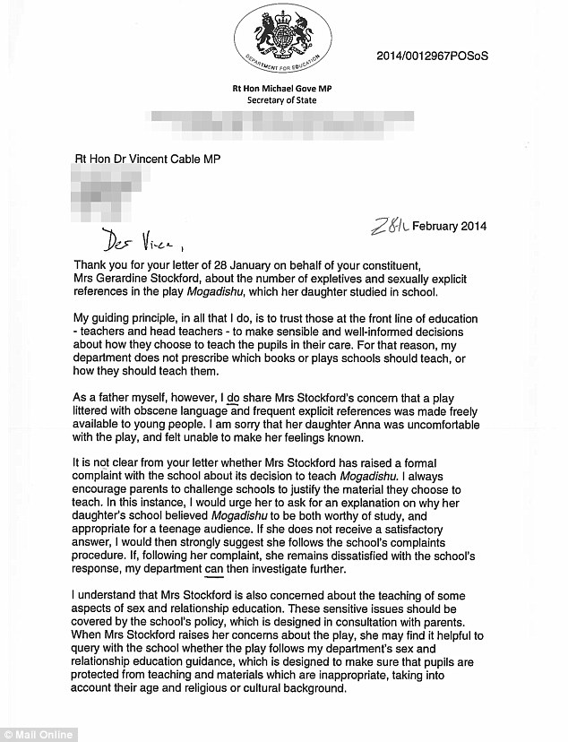 Support: A letter from Education Secretary Michael Gove to Mrs Stockford's MP Vince Cable. He says: 'as a father myself, however, I do share Mrs Stockford's concern'