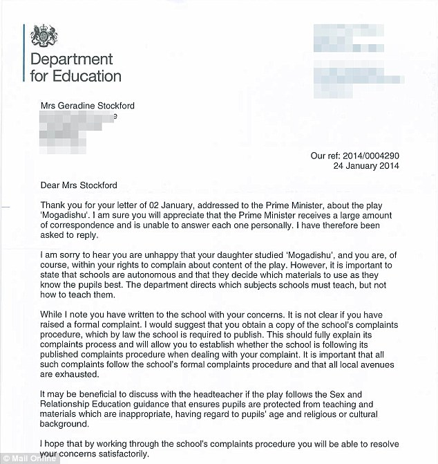 A letter from the Department for Education says the school have the final say over what texts they study