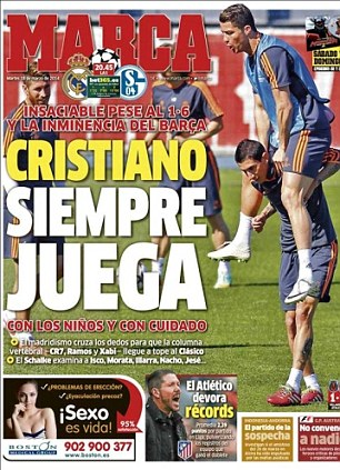 He always plays! Marca report that Cristiano Ronaldo will play for a weakened Real Madrid side in the second leg of their Champions League tie with Schalke. Real lead 6-1 from the first leg in Germany