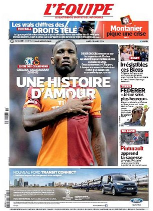 Love story: In France, L'Equipe have an interview with Galatasaray striker Didier Drogba ahead of their Champions League return with his former club Chelsea