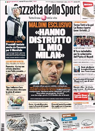 'Destroyed': An exclusive interview with Paolo Maldini in Gazzetta in which the former defender says the club he served with such distinction has 'no project' going forward
