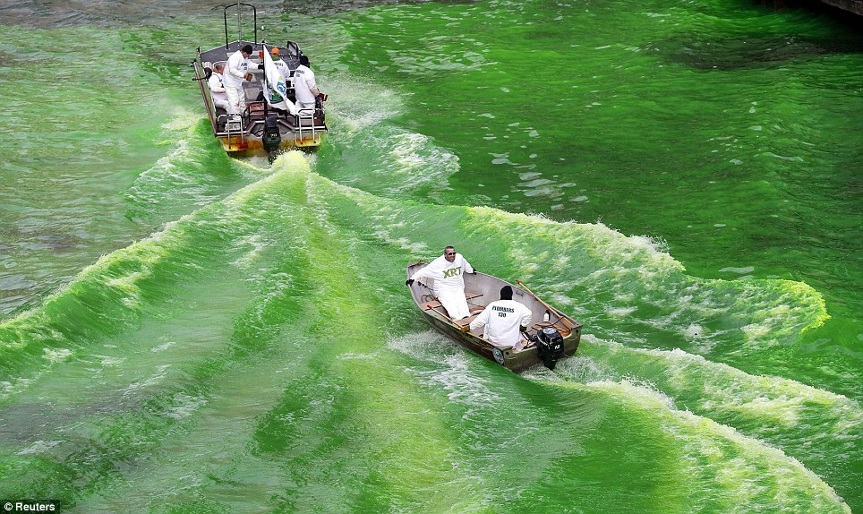 Is it supposed to be that colour? The Chicago River - which is so often white with ice - found a new hue for St Patrick's Day