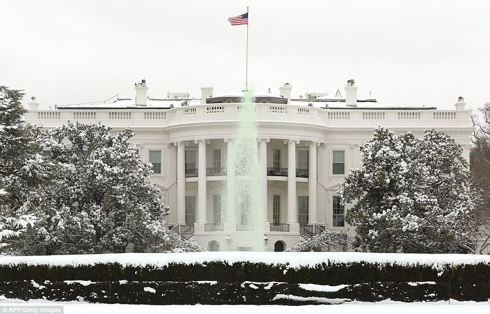 White House, green fountain: The view from President Obama's window was a little different for St Patrick's Day