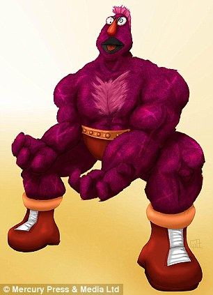 The Telly Monster has been morphed with Zangief to create Zellygief