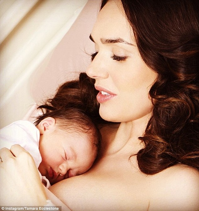 Proud: Tamara Ecclestone announced that she and Jay Rutland had welcomed their daughter Sophia into the world on Monday