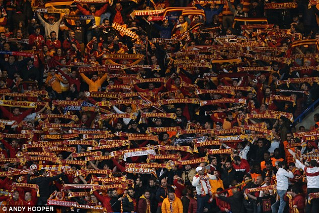 Support: Galatasaray's large contingent of travelling fans at Stamford Bridge