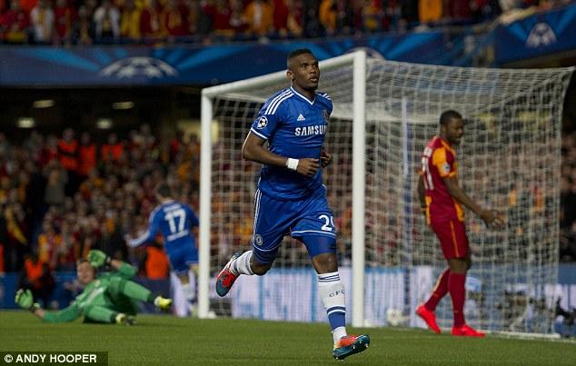 Ahead: Samuel Eto'o gave Chelsea the lead inside four minutes at Stamford Bridge