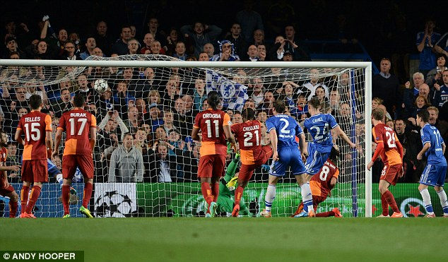 Doubled: Gary Cahill smashes home Chelsea's second goal just before half-time