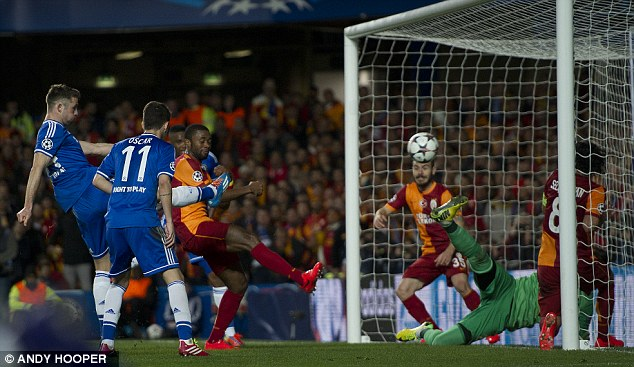 Cushion: Cahill's strike extended Chelsea's aggregate lead to 3-1 and sent them towards the last eight