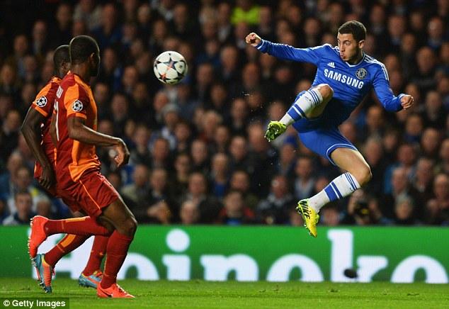 High flying: Chelsea's Belgian star Eden Hazard in action during the second leg
