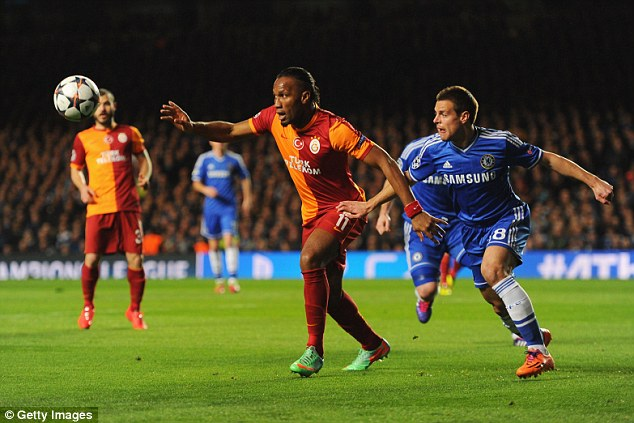 Rock solid: Cesar Azpilicueta showed his defensive qualities for the Blues once again
