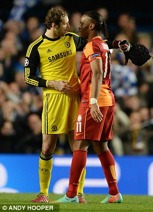 Old pals: Petr Cech and Drogba after the game