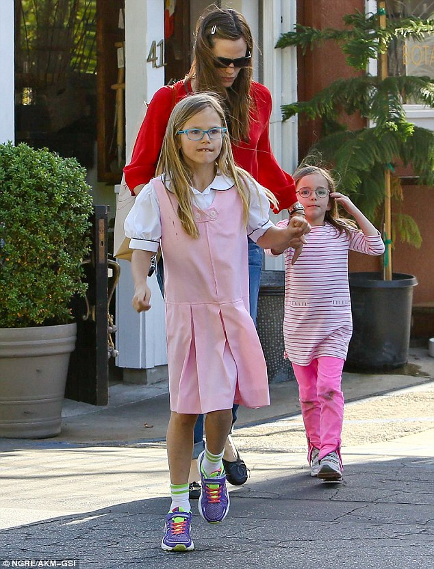 Girls' day out : Jennifer Garner took her daughters, Violet and Seraphina, to the Brentwood Country Mart on Tuesday