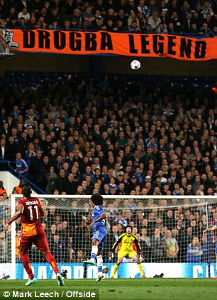 High, wide and not so handsome: Drogba fires his free-kick towards the banner