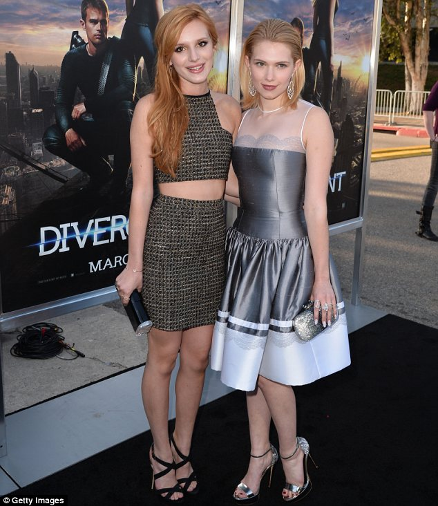 No rivalry here: Teen actresses Bella and Claudia Lee posed happily for pictures together in Westwood
